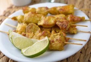 recette facile et gourmande - brochette de curry de poulet